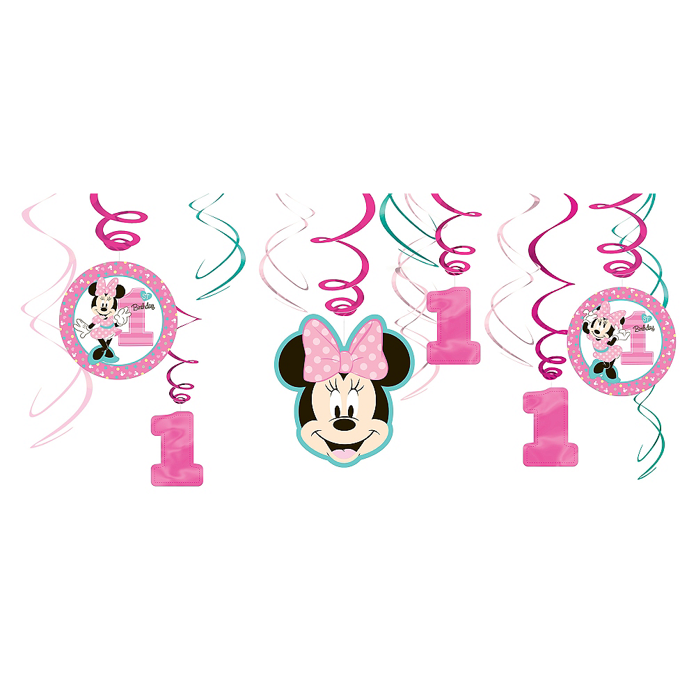 1st Birthday Minnie Mouse Swirl Decorations 12ct Image 1