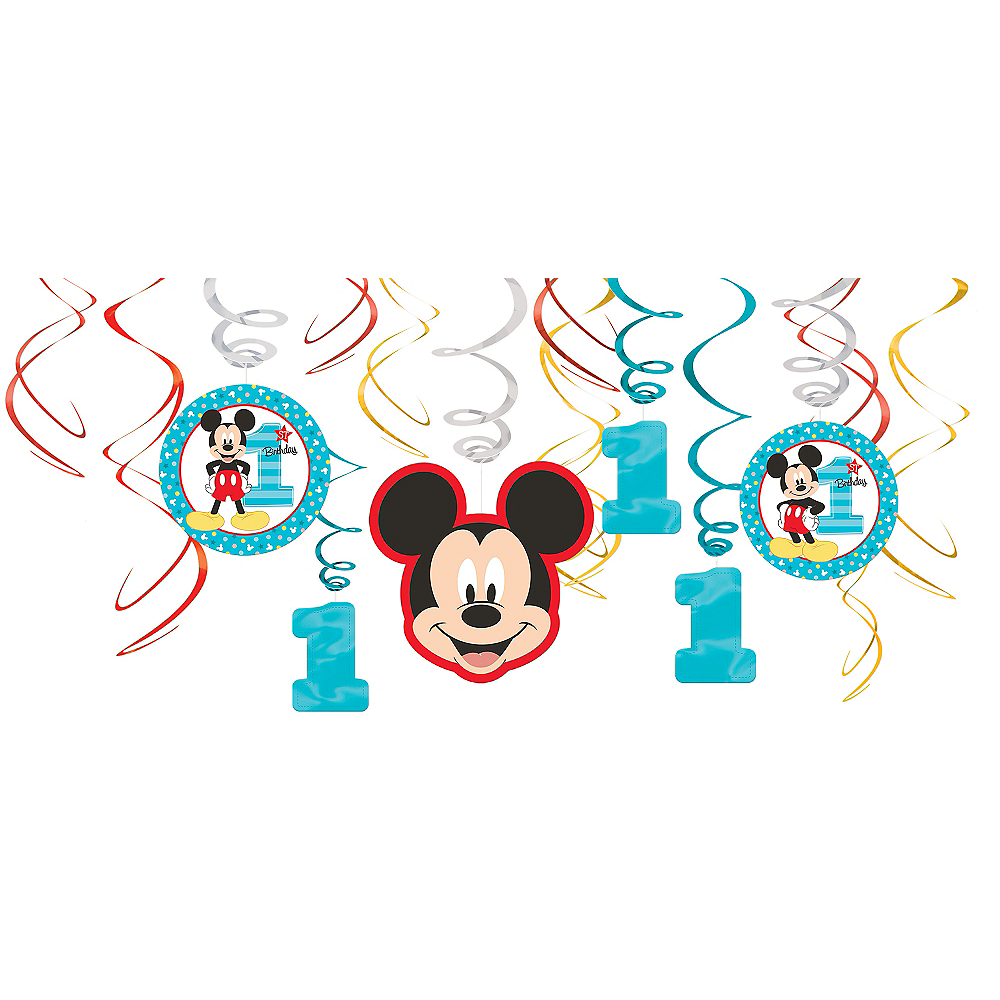 1st Birthday Mickey Mouse Swirl Decorations 12ct Image #1