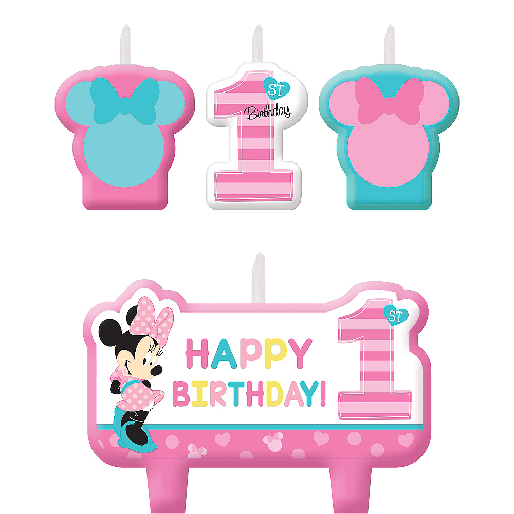 Minnie Mouse 1st Birthday Candles 4ct Image 1