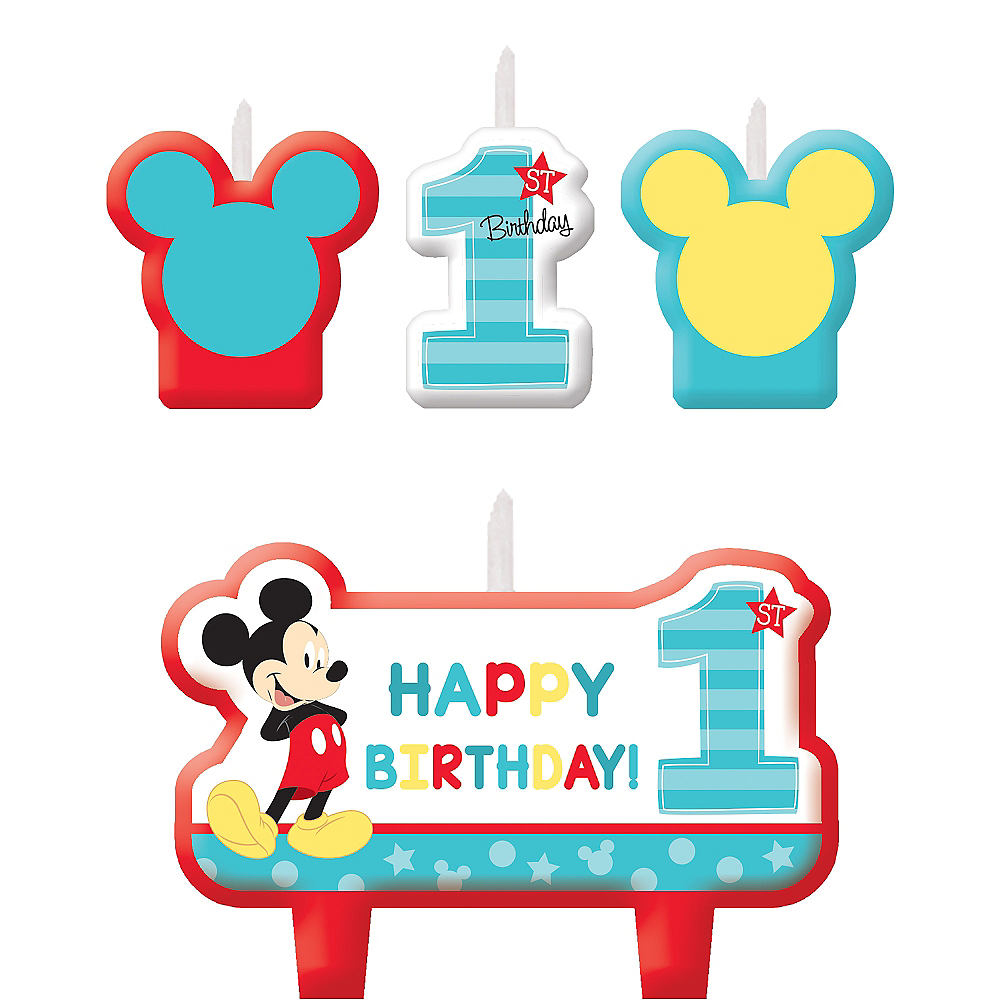 Mickey Mouse 1st Birthday Candles 4ct Image #1