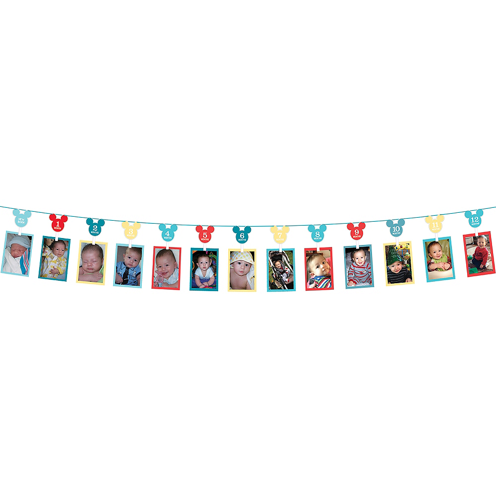1st Birthday Mickey Mouse Photo Garland Image #1