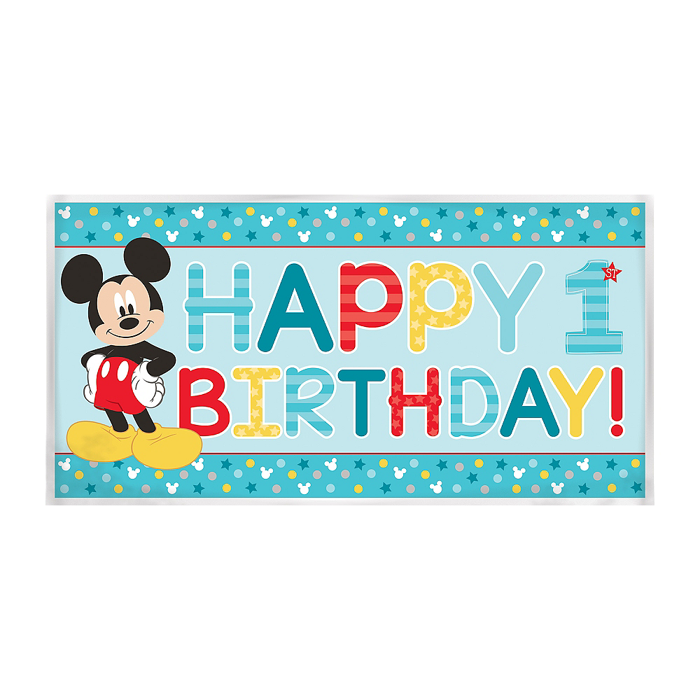 1st Birthday Mickey Mouse Banner Image #1