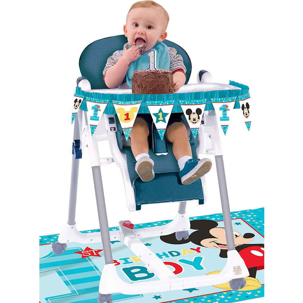 1st Birthday Mickey Mouse High Chair Decorating Kit 2pc Image #1