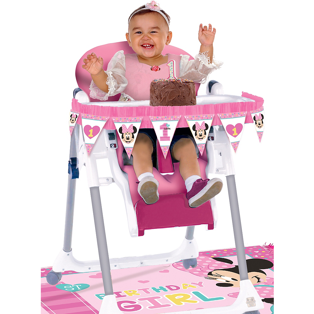 1st Birthday Minnie Mouse High Chair Decorating Kit 2pc Image 1