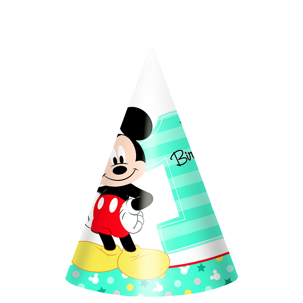 1st Birthday Mickey Mouse Party Hats 8ct Image 1