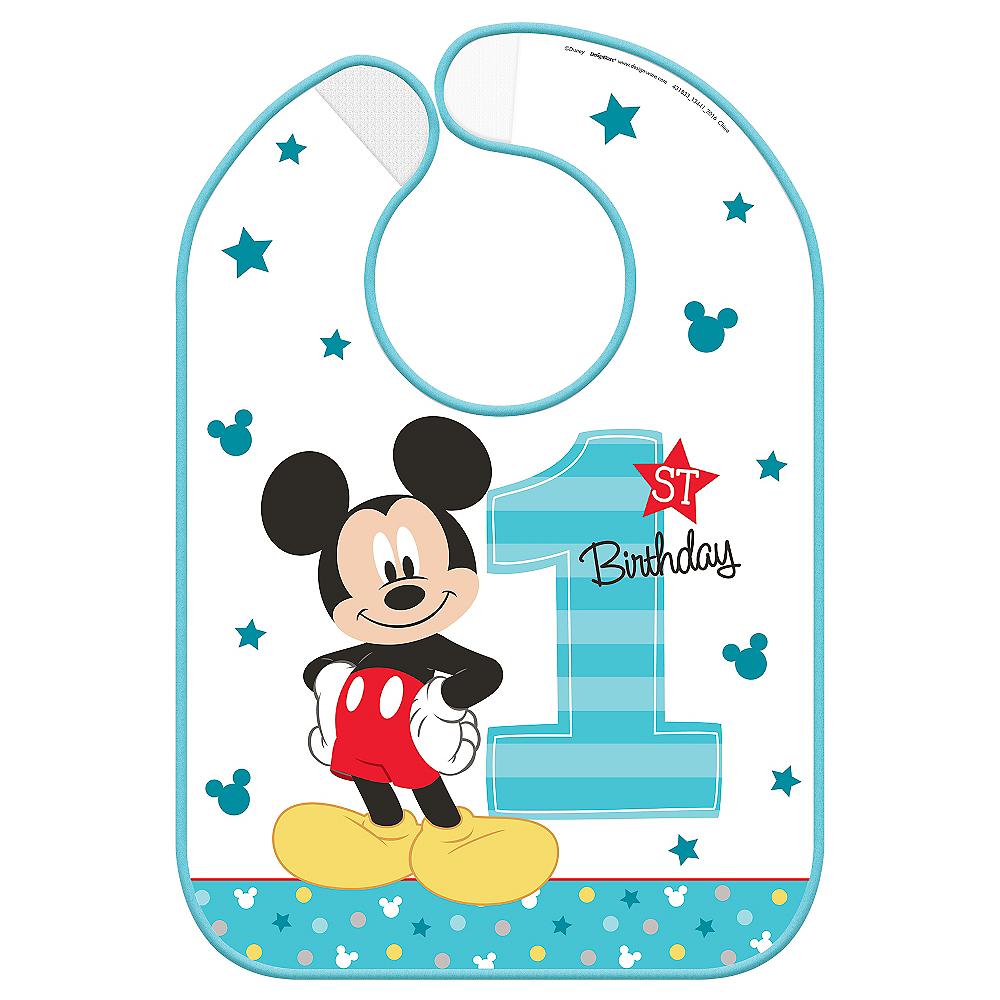 1st Birthday Mickey Mouse Bib Image #1