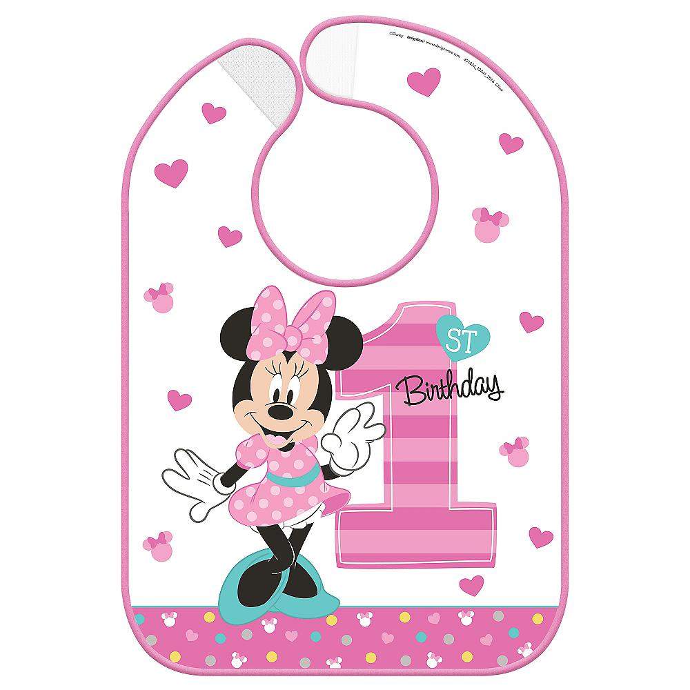 1st Birthday Minnie Mouse Bib Image #1