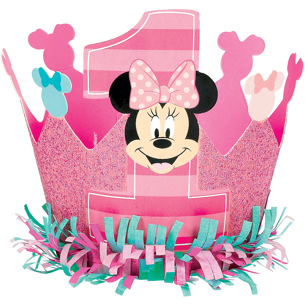 Mini 1st Birthday Minnie Mouse Crown Hat 3in X 4 1 4in Party City