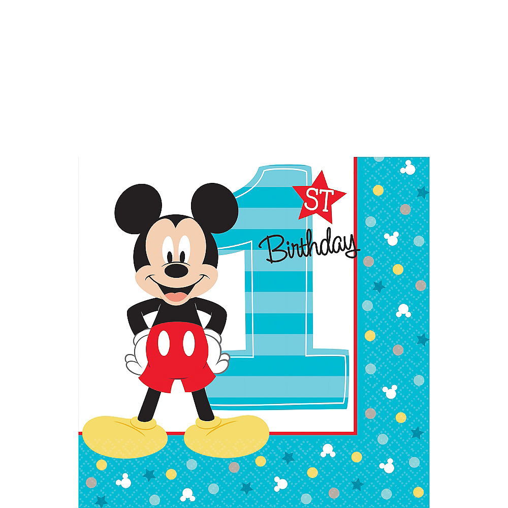 1st Birthday Mickey Mouse Beverage Napkins 16ct Image #1