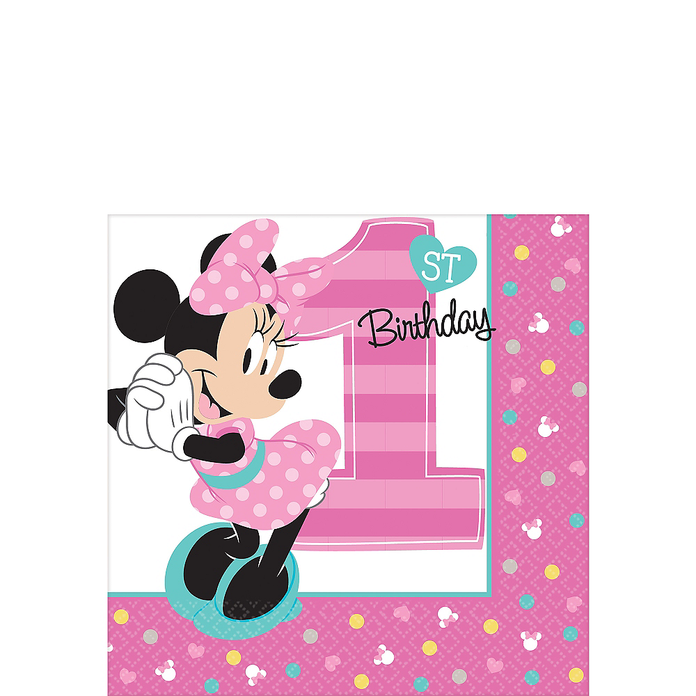1st Birthday Minnie Mouse Beverage Napkins 16ct Image #1