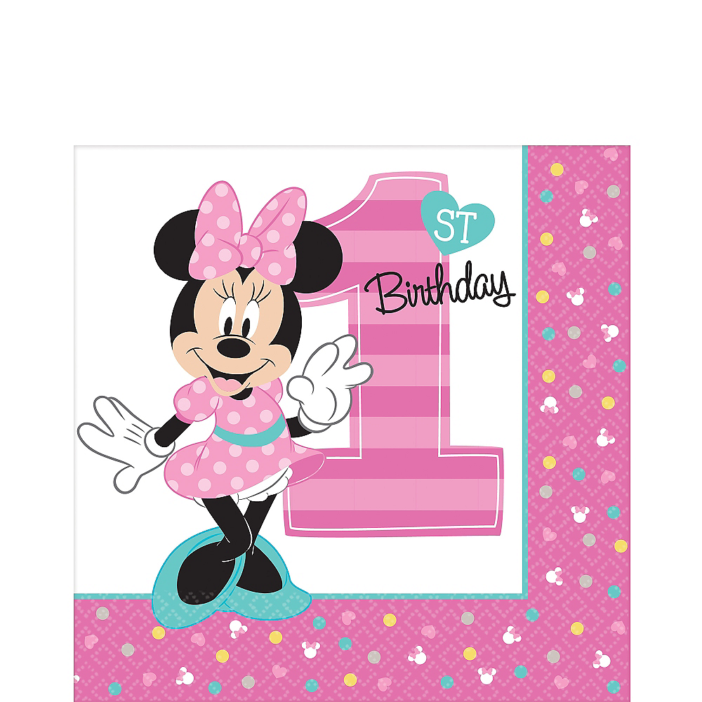 1st Birthday Minnie Mouse Lunch Napkins 16ct Image #1