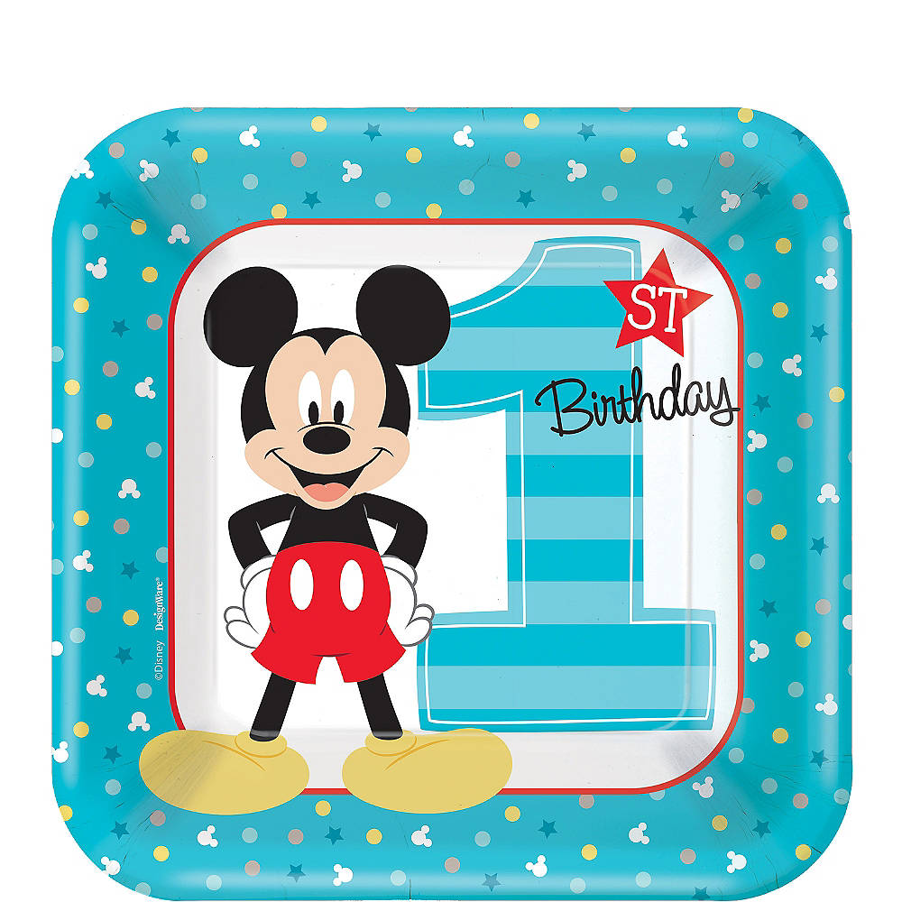 Nav Item for 1st Birthday Mickey Mouse Dessert Plates 8ct Image #1