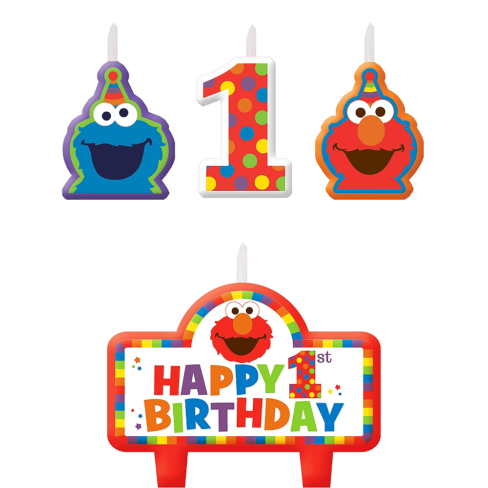 Nav Item for Elmo 1st Birthday Candles 4ct Image #1