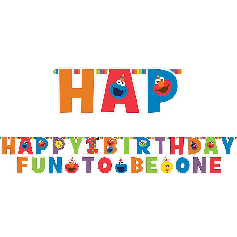 1st Birthday Elmo Letter Banner Kit 2pc Image #1
