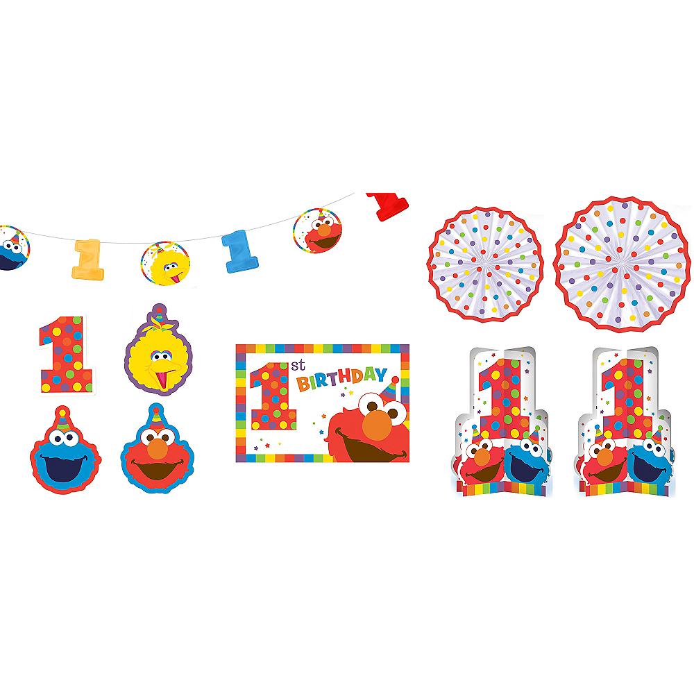 1st Birthday Elmo Room Decorating Kit 10pc Image 1