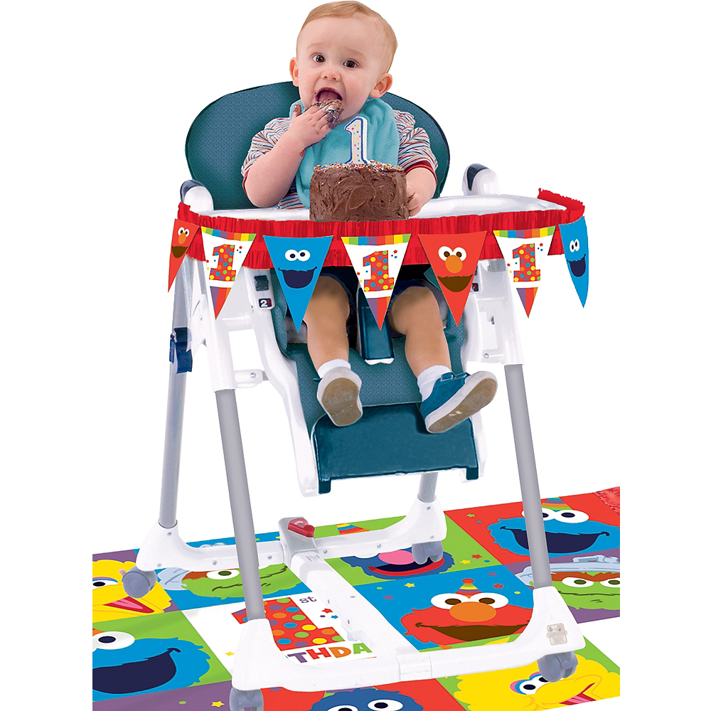 1st Birthday Elmo High Chair Decorating Kit 2pc Image 1