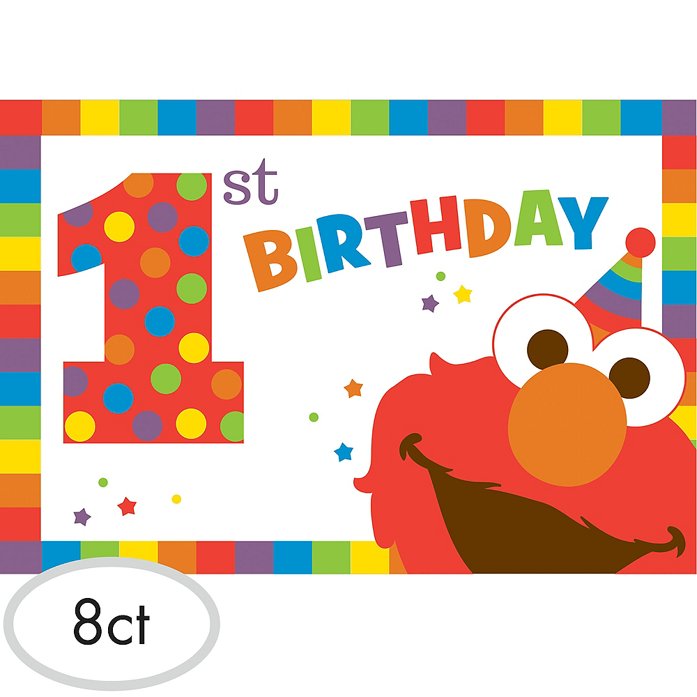 1st Birthday Elmo Invitations 8ct Image #1
