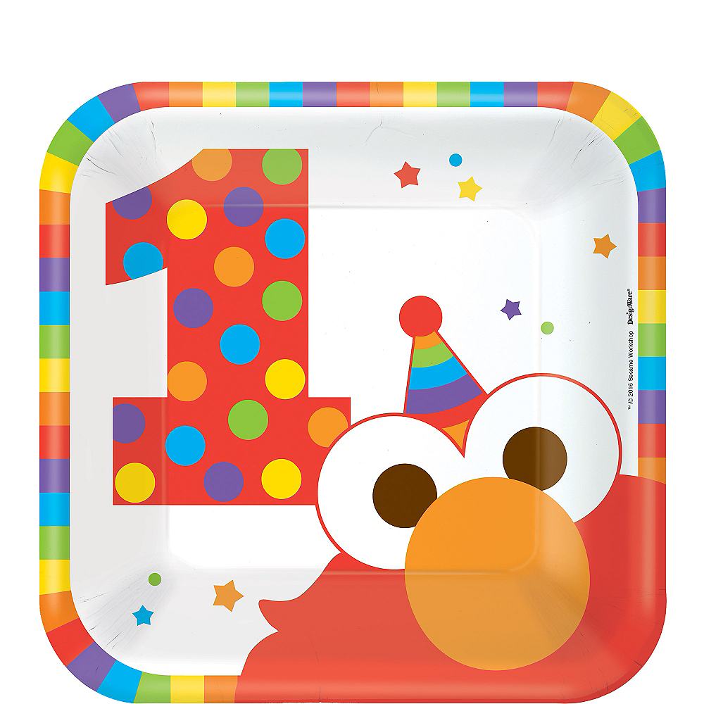 Nav Item for 1st Birthday Elmo Dessert Plates 8ct Image #1