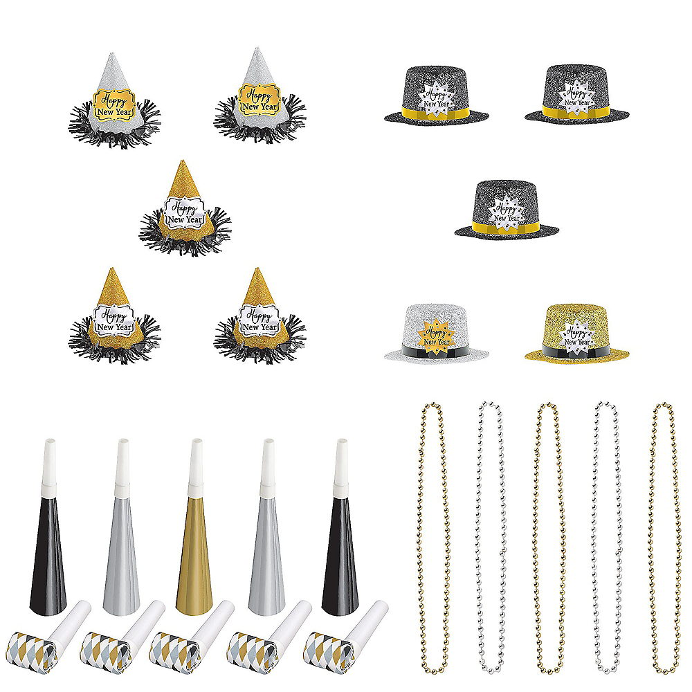 Glitter Black, Gold & Silver New Year's Party Kit for 10 Guests Image #1