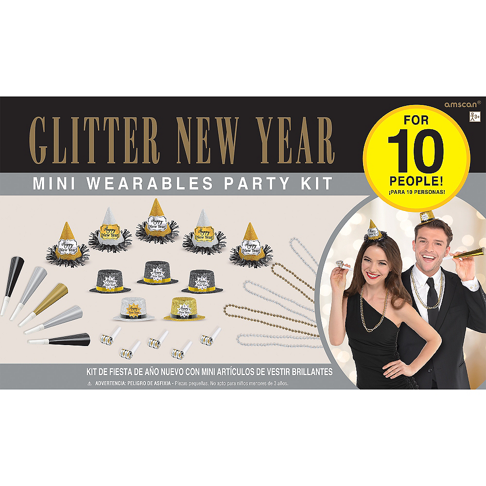 Glitter Black, Gold & Silver New Year's Party Kit for 10 Guests Image #2