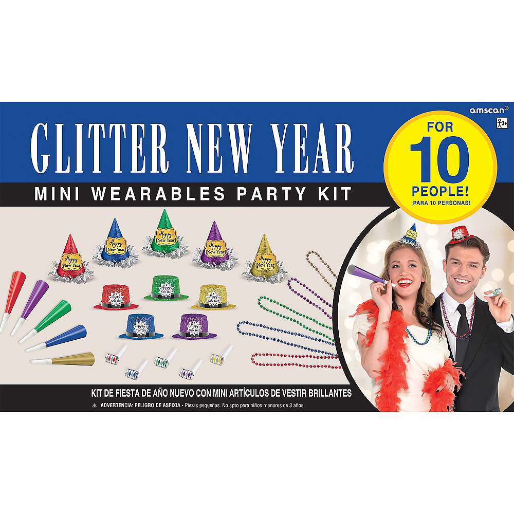 Glitter Colorful New Year's Party Kit for 10 Guests Image #2
