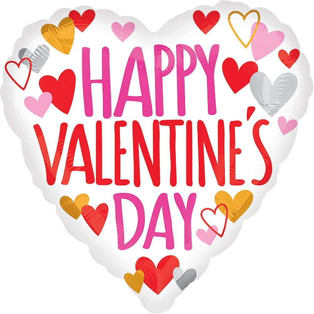 White Happy Valentine's Day Heart Balloon Image #1