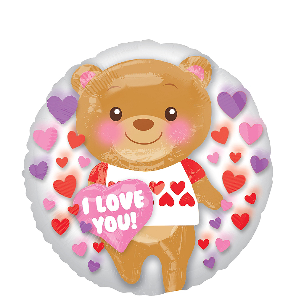 Teddy Bear Valentine's Day Balloon - Insider, 24in Image #1