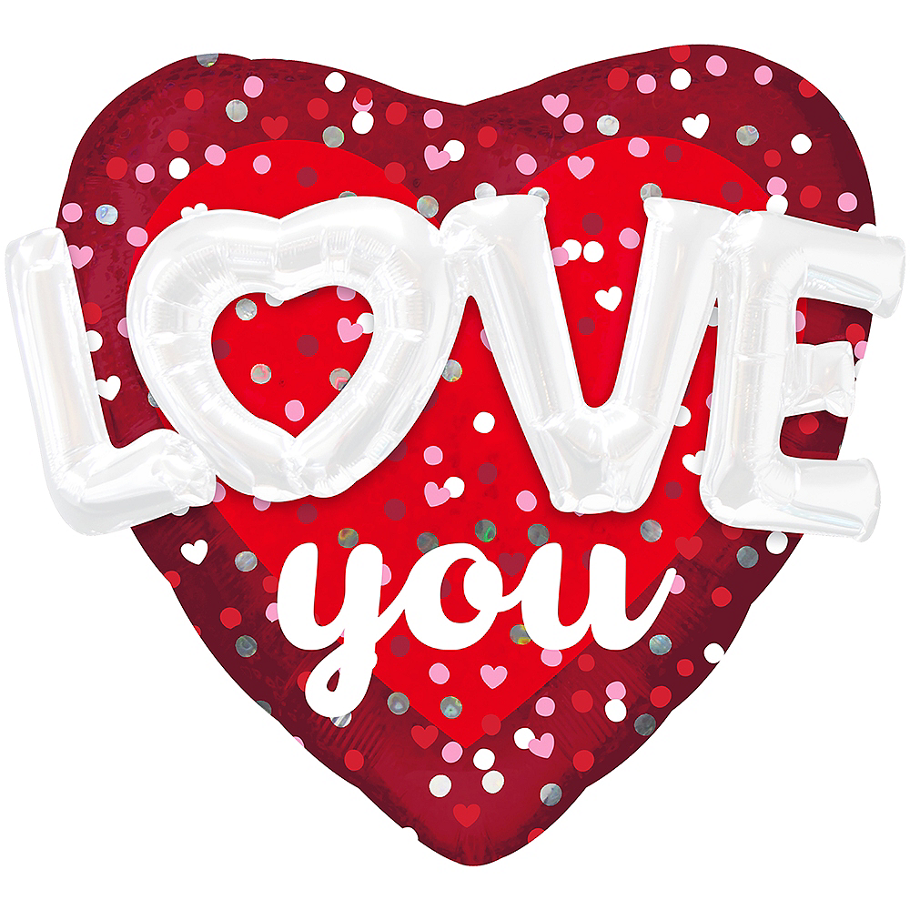 Nav Item for Giant 3D Love You Valentine's Day Heart Balloon, 36in Image #1