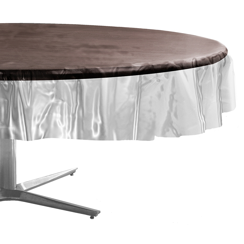 CLEAR Plastic Round Table Cover Image #1