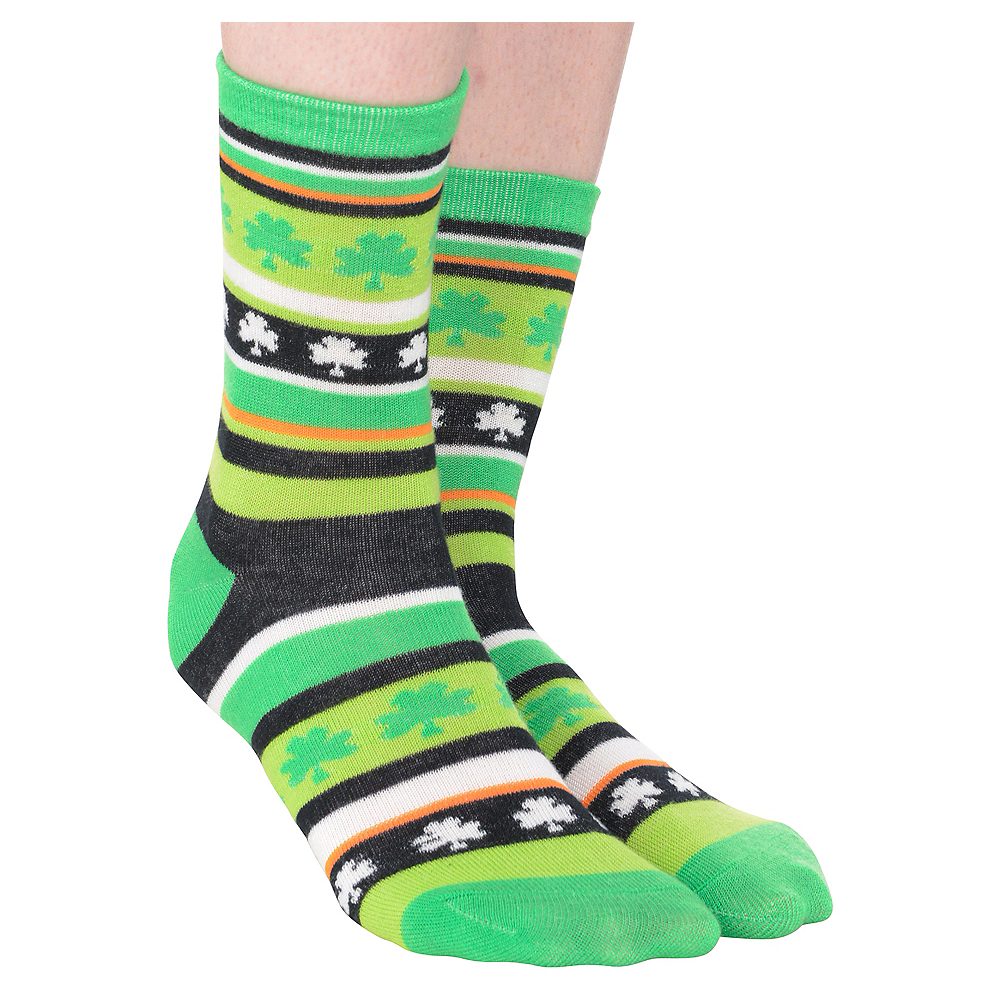 Nav Item for St. Patrick's Day Shamrock Crew Socks Image #1