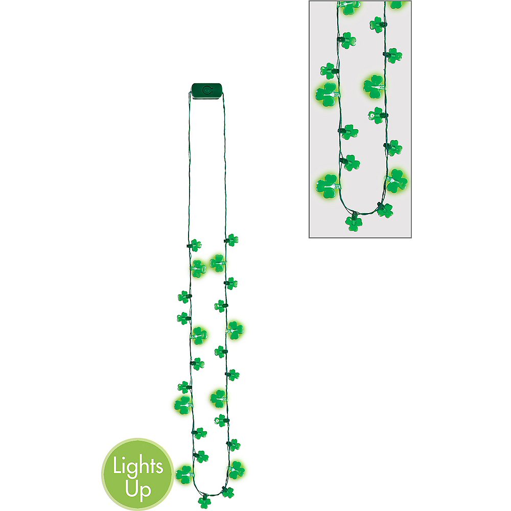 Light-Up LED Shamrock Necklace Image #1