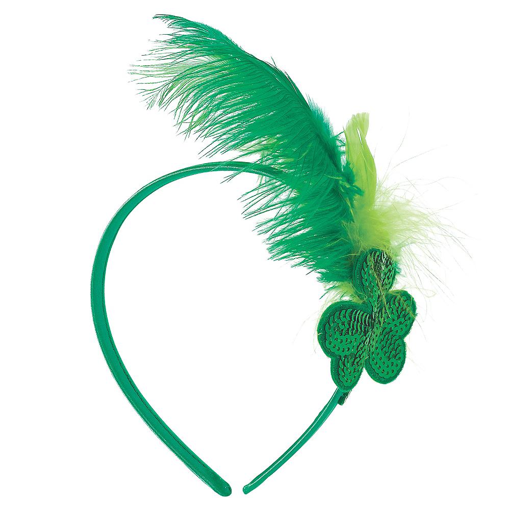 Green Shamrock Feather Headband Image #1