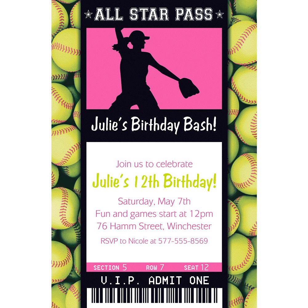 Custom Softball Ticket Invitation Image #1