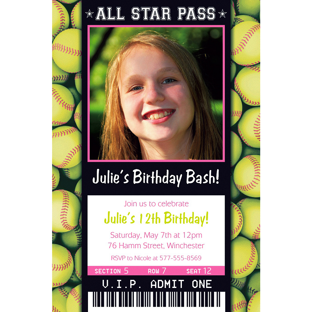 Custom Softball Ticket Photo Invitation Image #1