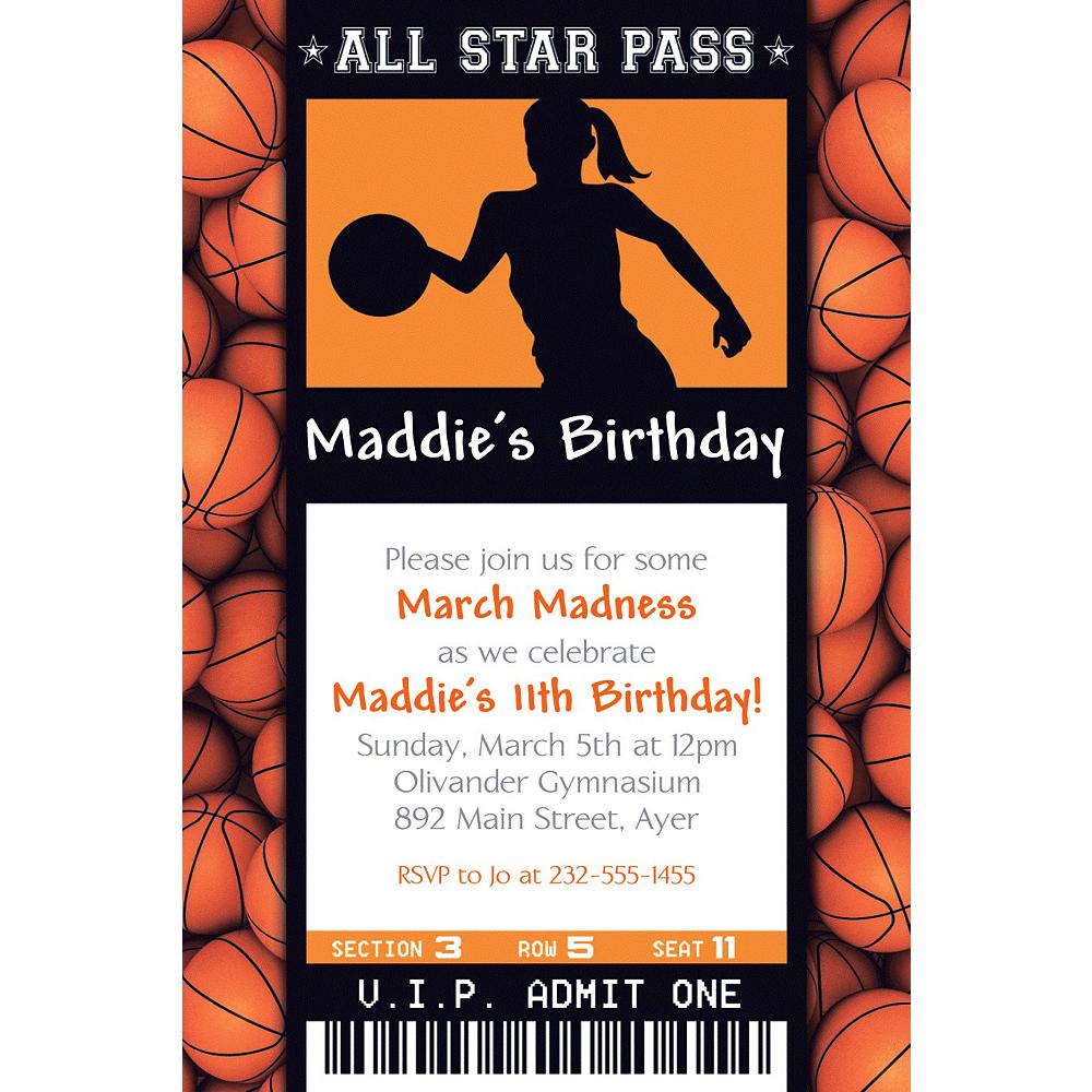 Custom Female Basketball Ticket Invitation Image #1