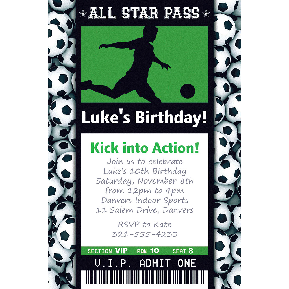 Custom Male Soccer Ticket Invitation Image #1