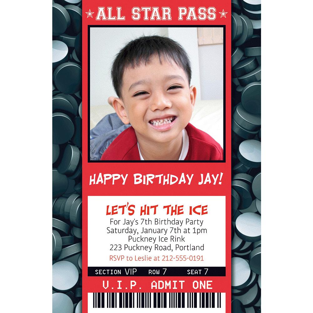 Custom Hockey Ticket Photo Invitation Image #1