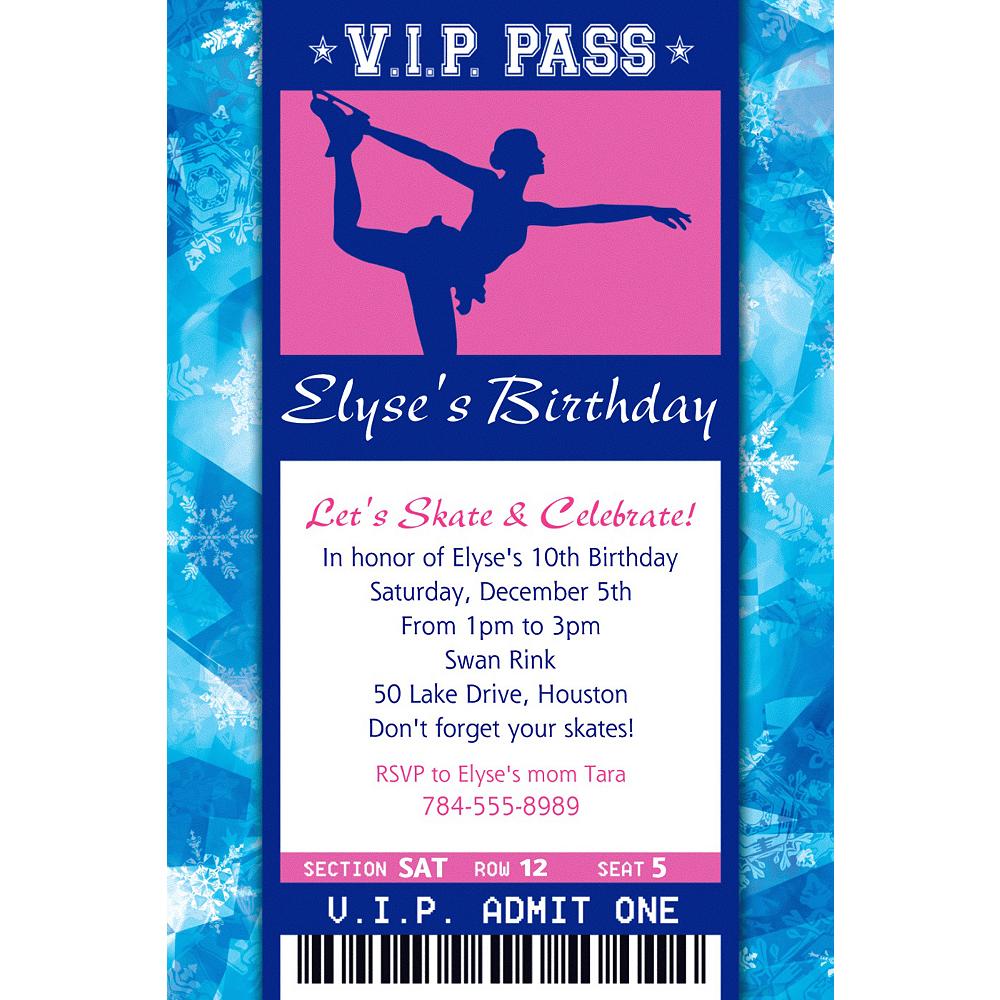 Custom Ice Skating Ticket Invitation Image #1