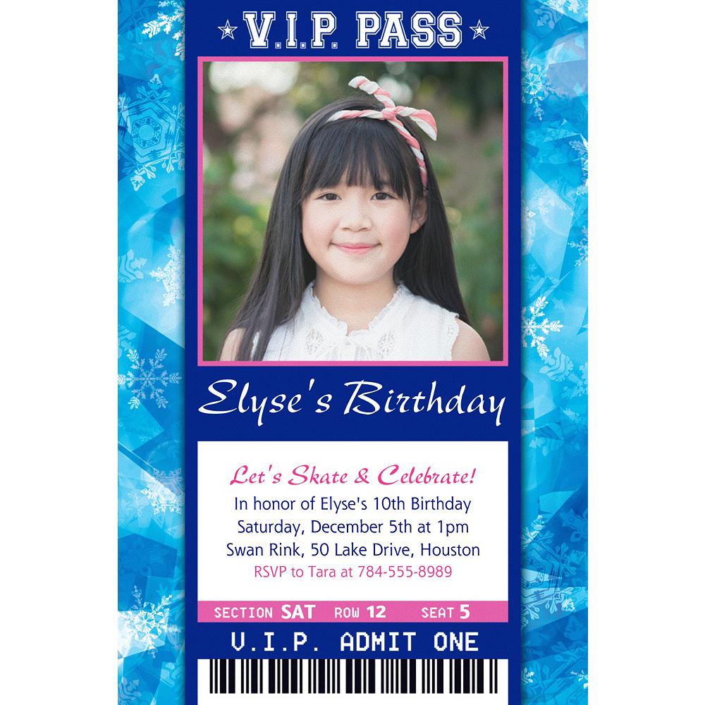 Custom Ice Skating Ticket Photo Invitation Image #1
