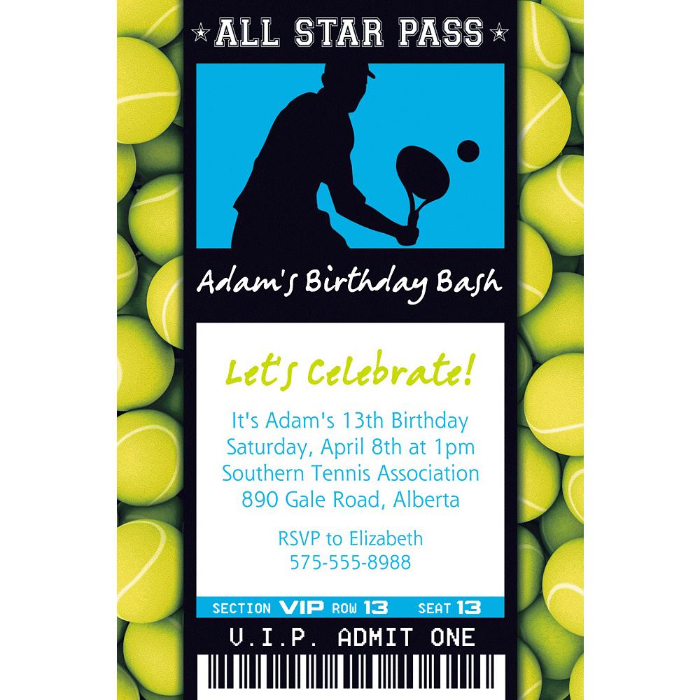 Custom Male Tennis Ticket Invitation Image #1
