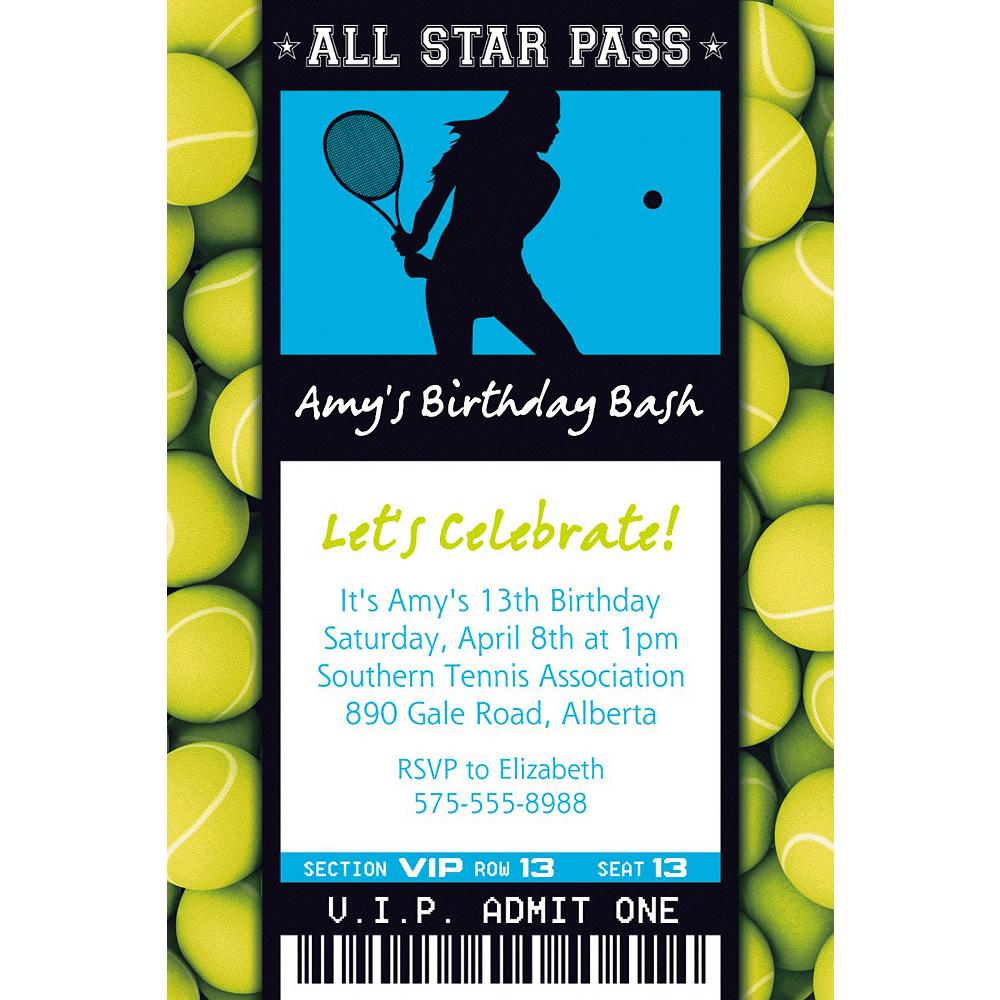 Custom Female Tennis Ticket Invitation Image #1