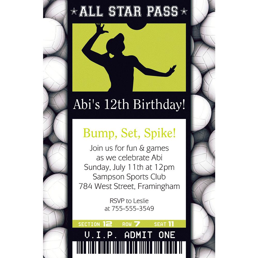 Custom Volleyball Ticket Invitation Image #1