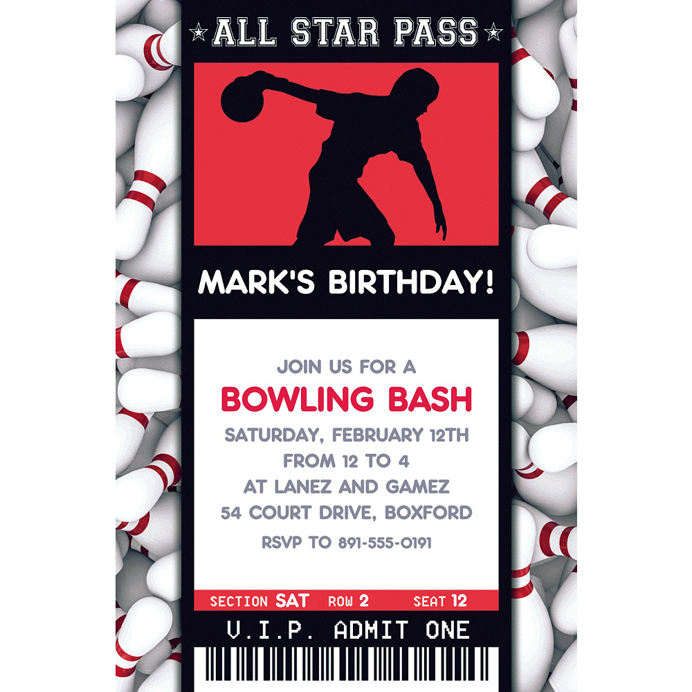 Custom Male Bowling Ticket Invitation Image #1