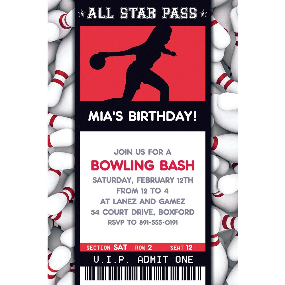 Custom Female Bowling Ticket Invitation Image #1