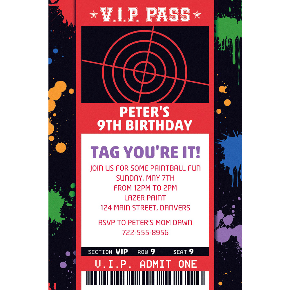 Custom Paintball Ticket Invitation | Party Supplies | Party City