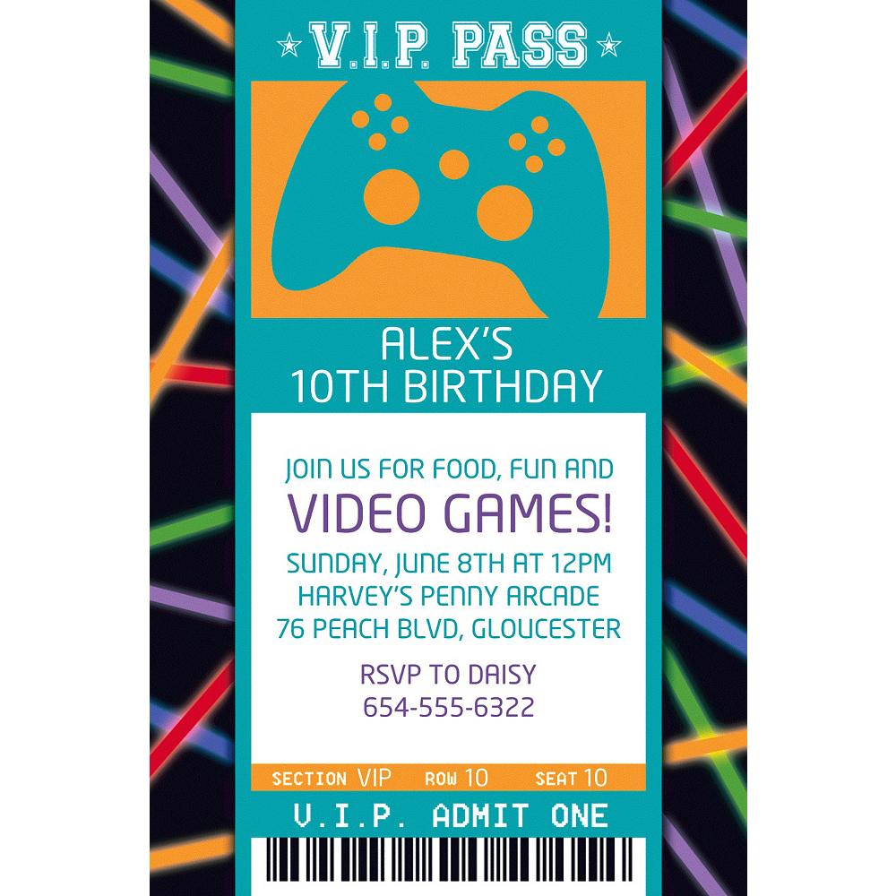 Custom Arcade Ticket Invitation Image #1