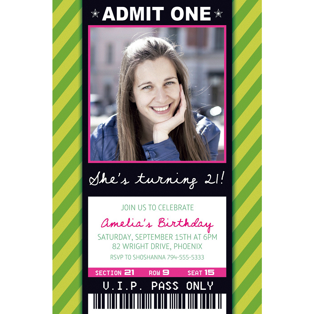 Custom Green Generic Ticket Photo Invitation Image #1