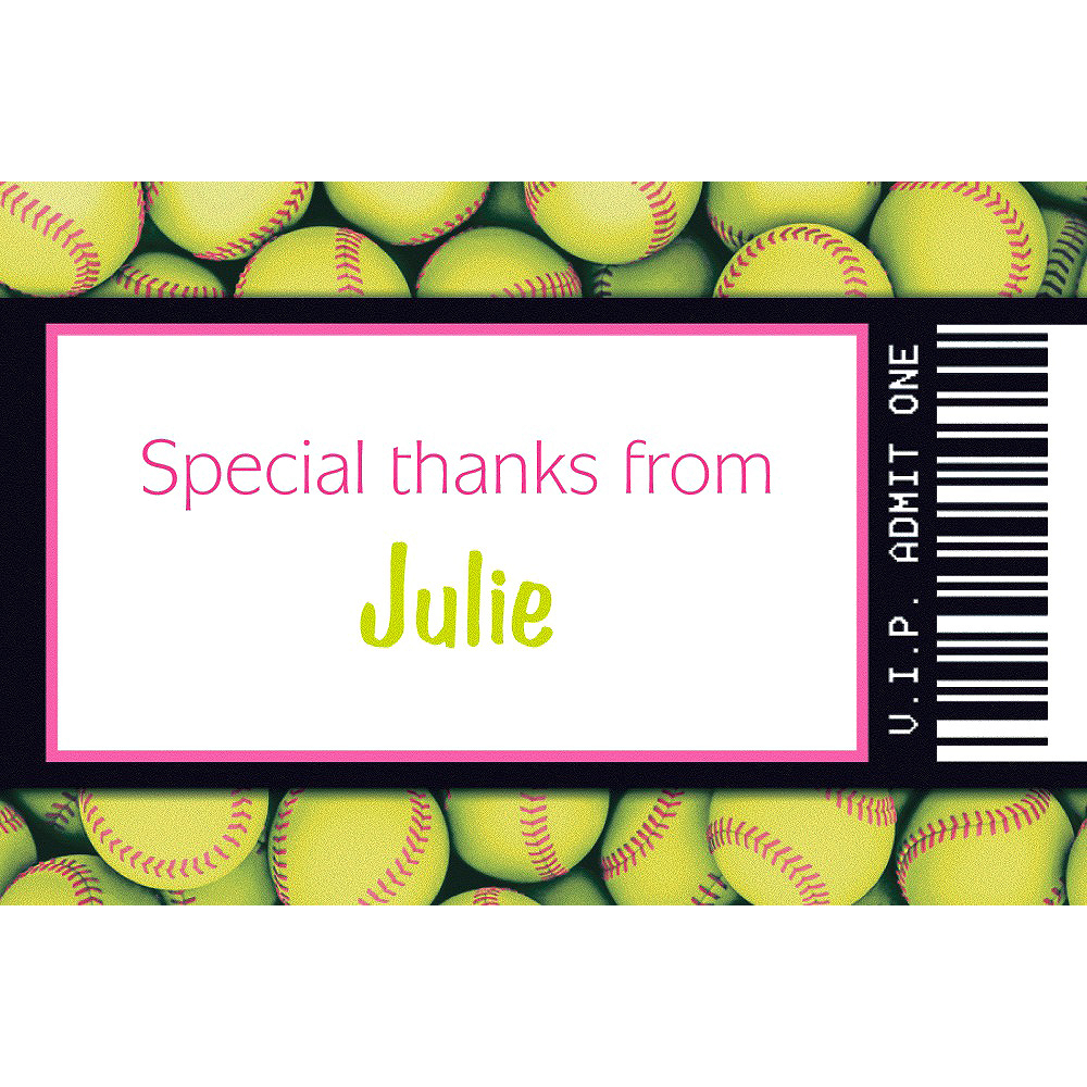 Custom Softball Ticket Thank You Note Image #1