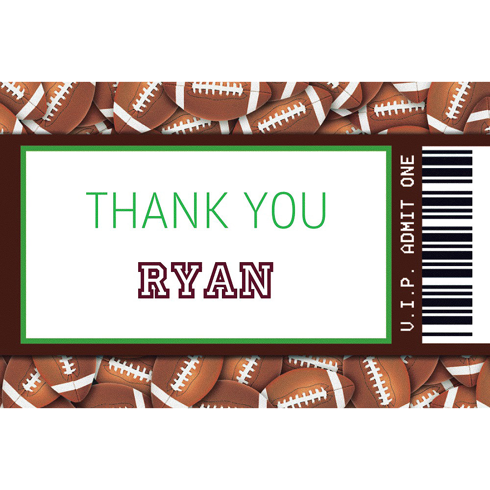 Custom Football Ticket Thank You Note Image #1