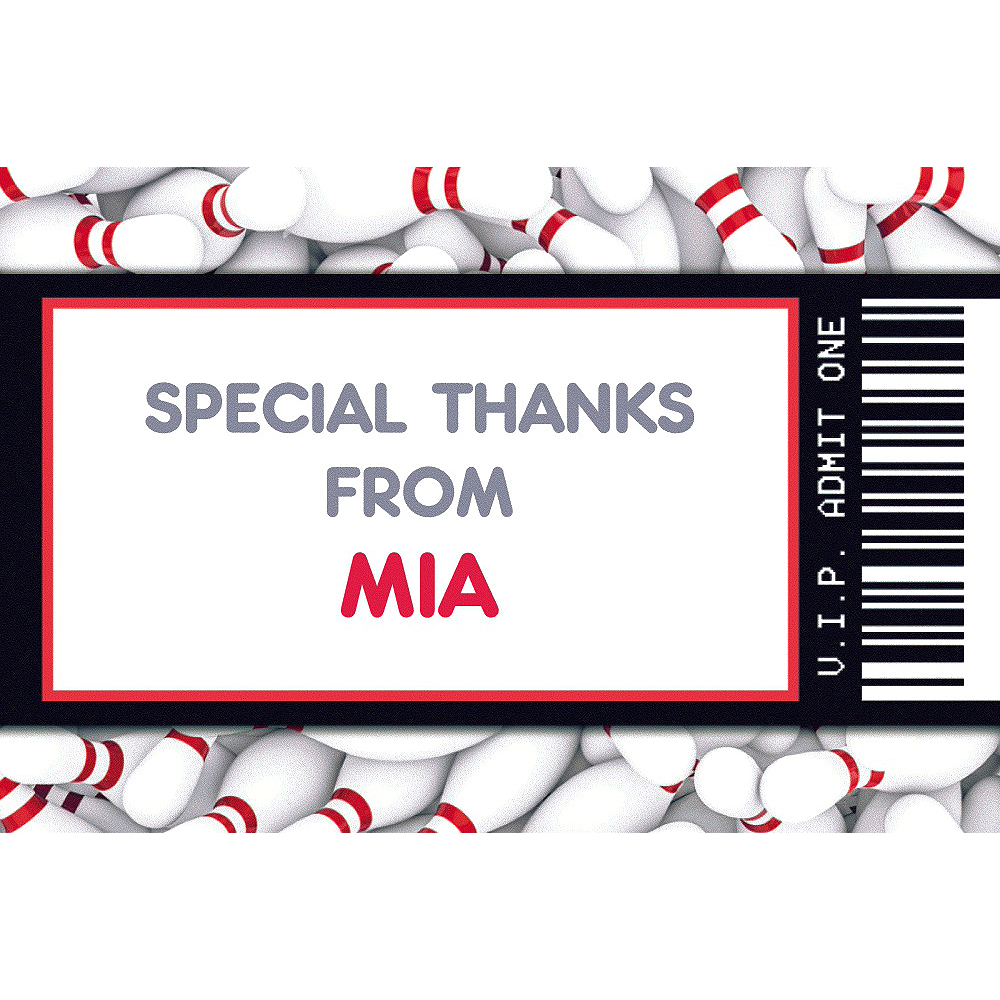 Custom Bowling Ticket Thank You Note Image #1